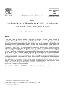 Reaction cells and collision cells for ICP