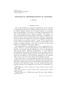 TOPOLOGICAL REPRESENTATIONS OF MATROIDS 1. Introduction