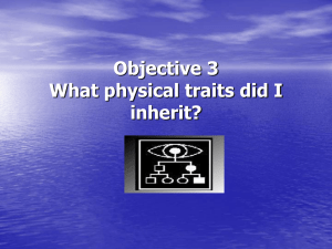 Objective 4 What physical traits did I inherit?