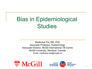 Selection Bias in Epidemiological Studies