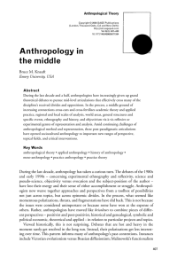 Anthropology in the middle - Anthropology Emory