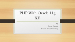 PHP With Oracle 11g XE - Eastern Illinois University