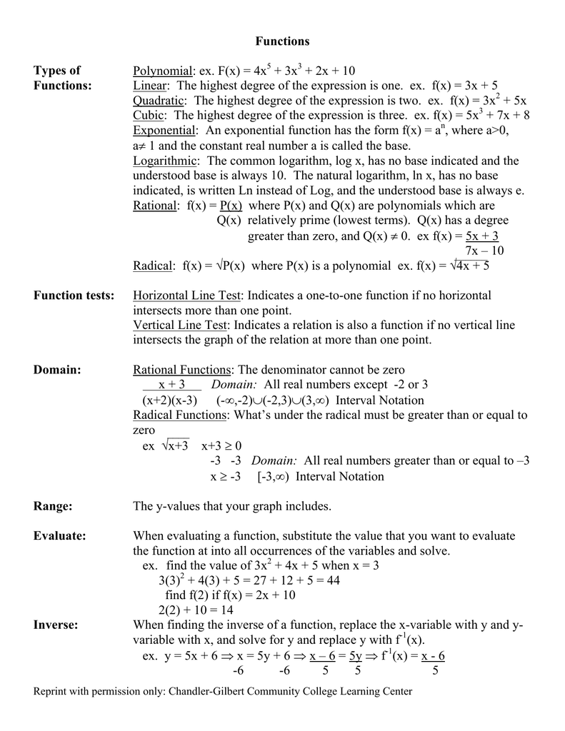 Functions Types of Polynomial - Chandler