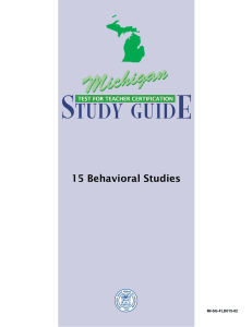 15 Behavioral Studies - Michigan Test for Teacher Certification