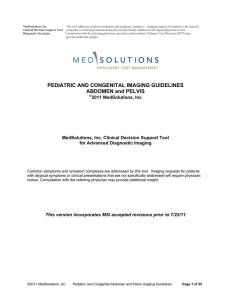 2011 Pediatric Abdomen and Pelvis Imaging Guidelines