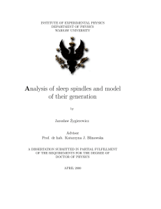 Analysis of sleep spindles and model of their generation