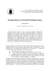 Semantic Roles of Adverbial Participial Clauses