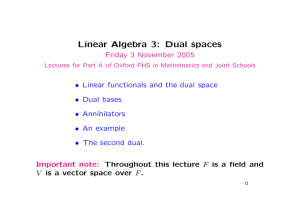 Linear Algebra 3: Dual spaces