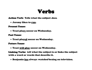 Action Verb: Tells what the subject does. • Jeremy likes to run