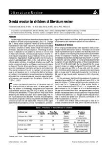 Dental erosion in children: A literature review
