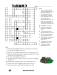 Earthquake Crossword - Science