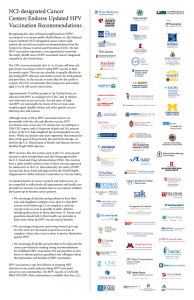 NCI-designated Cancer Centers Endorse Updated HPV Vaccination