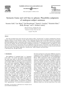 Syntactic frame and verb bias in aphasia: Plausibility judgments of