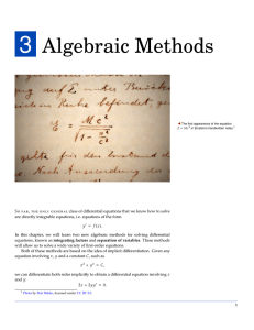 Introduction to Algebraic Methods