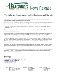 The Influenza Season has arrived in Haldimand and Norfolk