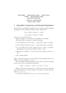 1 Quantifier Complexity and Bounded Quantifiers