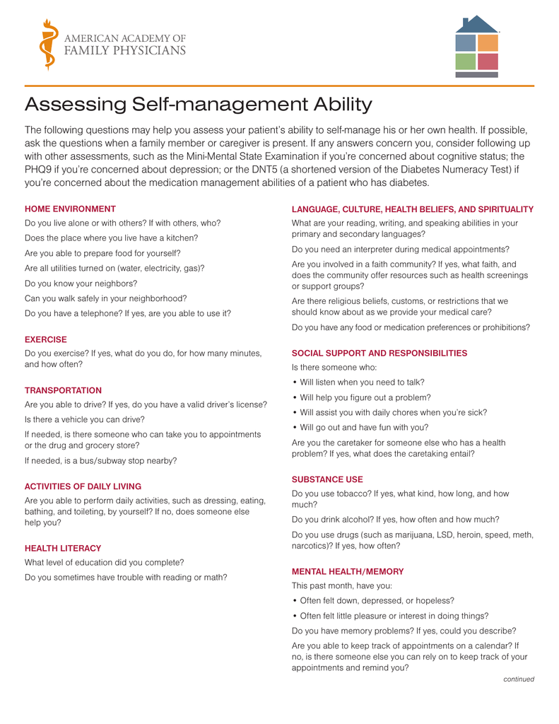 Assessing Self-management Ability