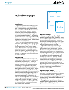 Iodine Monograph - Alternative Medicine Review