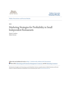 Marketing Strategies for Profitability in Small Independent Restaurants