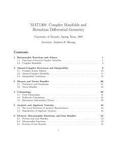 MAT1360: Complex Manifolds and Hermitian Differential Geometry