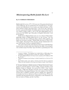 Misinterpreting Rabbi Judah Ha-Levi