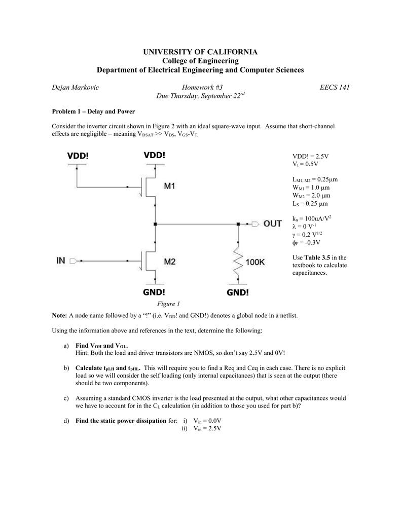 Homework 3 University Of California Berkeley Transistor Inverter Circuit