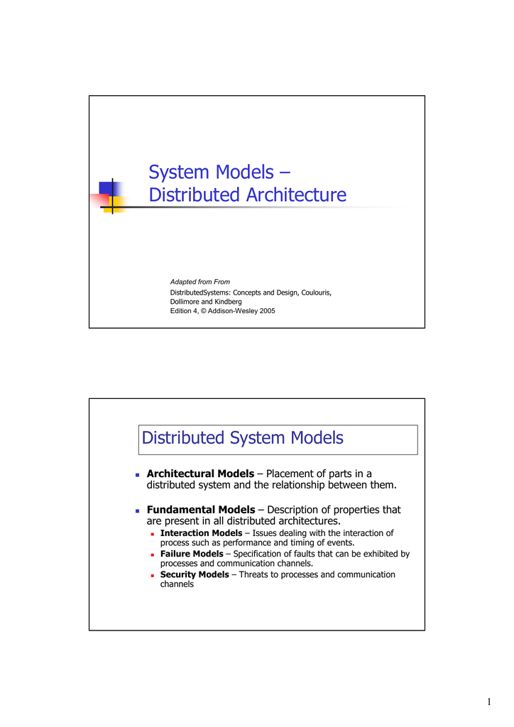 System Models Distributed Architecture