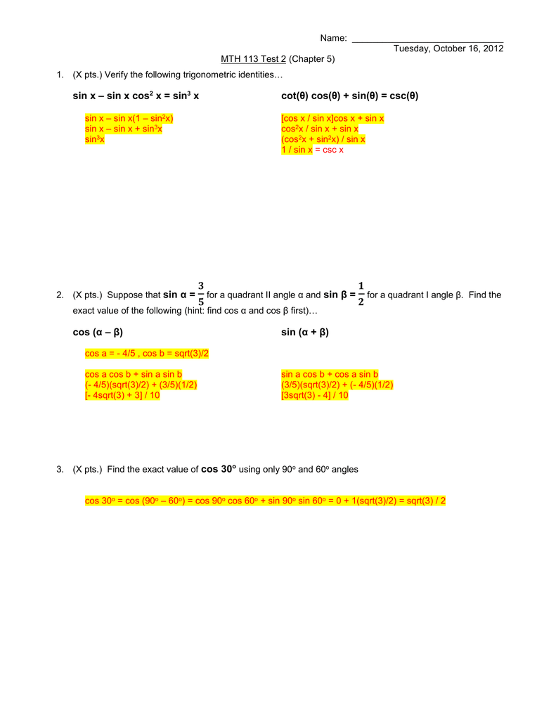 Sections 5 1-5 5) Practice Test