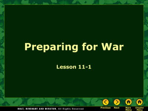 Chapter 11-1: Preparing For War