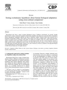 Testing evolutionary hypotheses about human biological adaptation