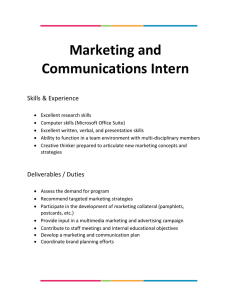 Marketing and Communications Intern