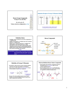 Boron Group Compounds Oxidation States Boron