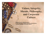 Values, Integrity, Morals, Philosophy, and Corporate Culture