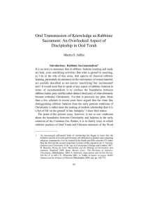 Oral Transmission of Knowledge as Rabbinic Sacrament: An