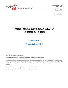 NEW TRANSMISSION LOAD CONNECTIONS