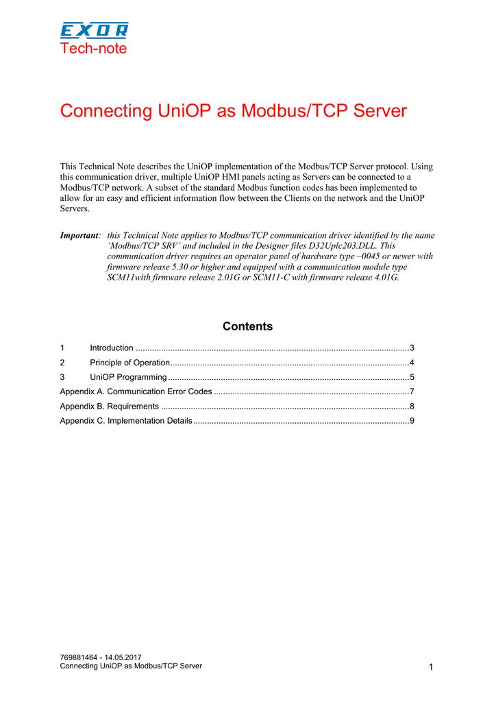Connecting UniOP as Modbus/TCP Server