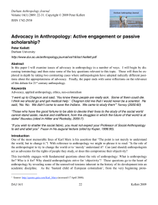 Advocacy in Anthropology: Active engagement or passive