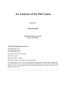 An Analysis of the Pali Canon