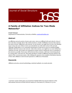 A Family of Affiliation Indices for Two