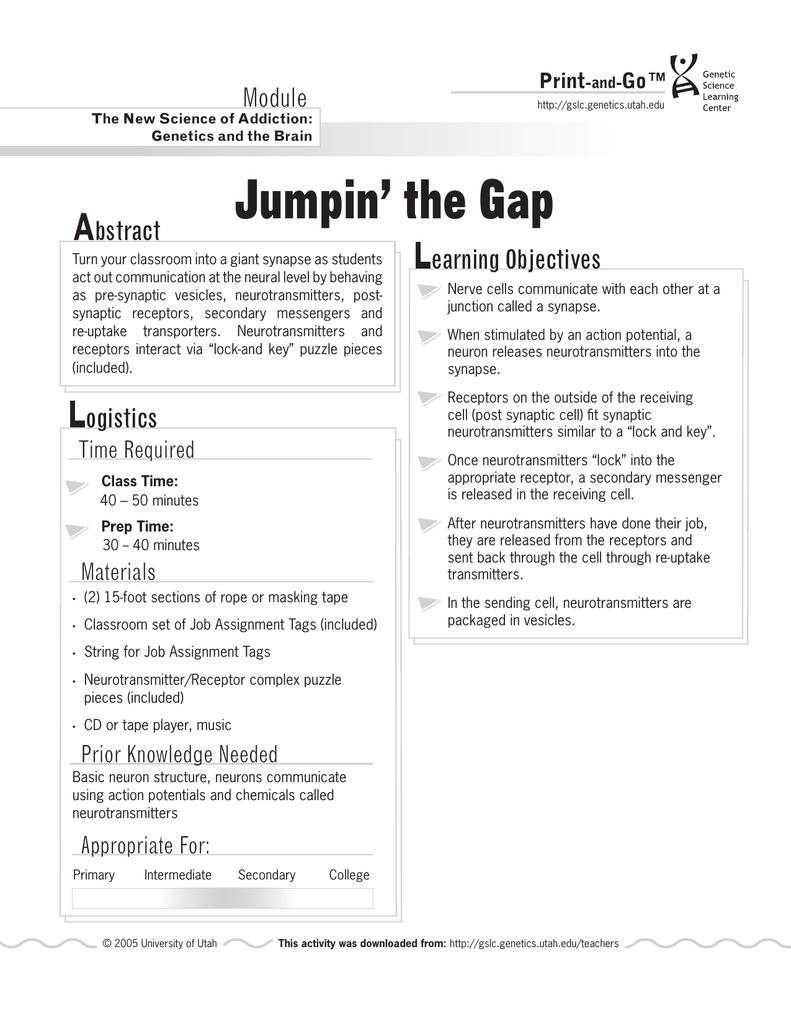 Jumpin` the Gap - Teach Genetics (Utah)