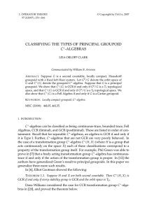 CLASSIFYING THE TYPES OF PRINCIPAL GROUPOID C
