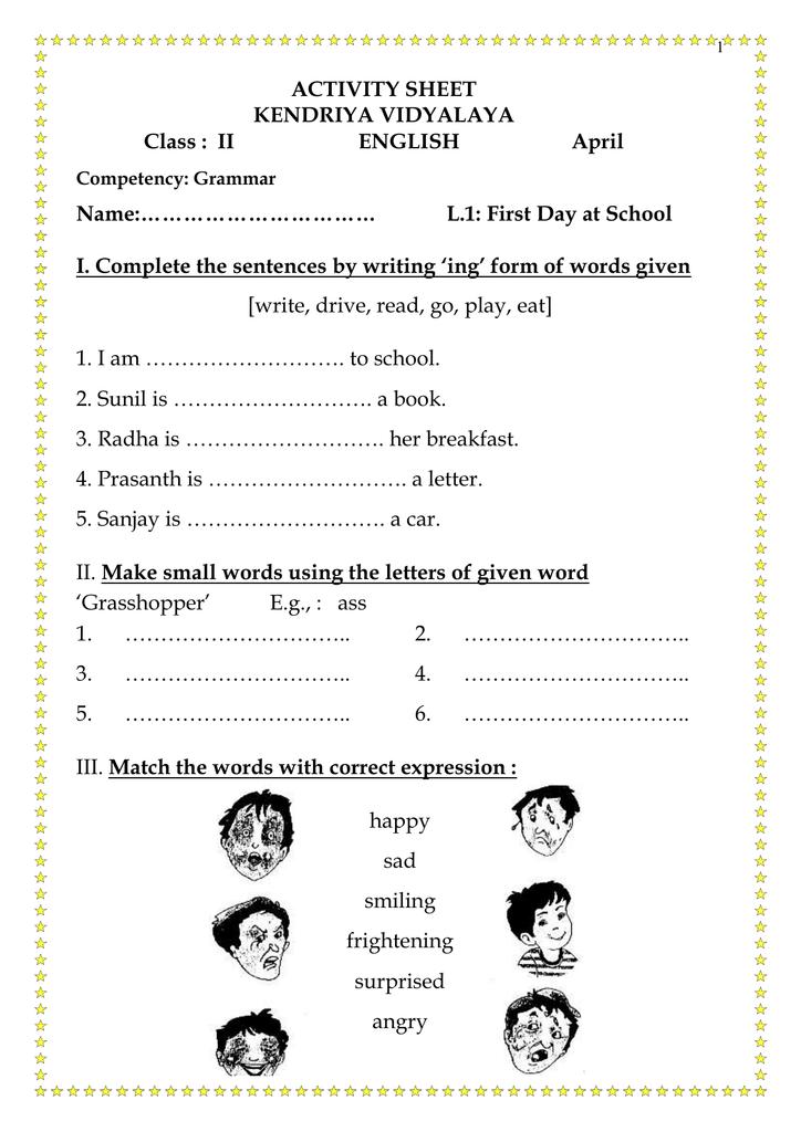 worksheet Class 2, English
