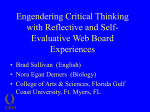 Engendering Critical Thinking with Reflective and Self
