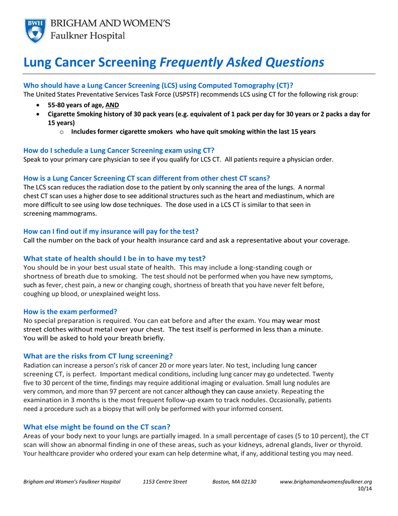 Lung Cancer Screening Frequently Asked Questions