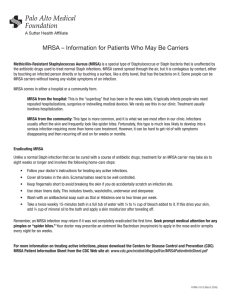 MRSA -- Information for Patients Who May Be Carriers