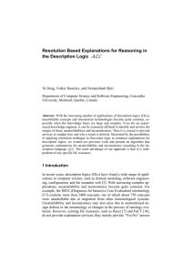 Resolution Based Explanations for Reasoning in the Description Logic