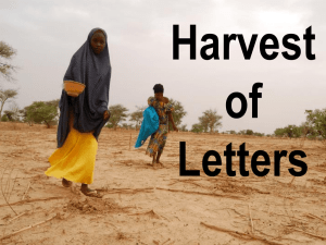 Harvest of Letters Hunger and a Changing Climate