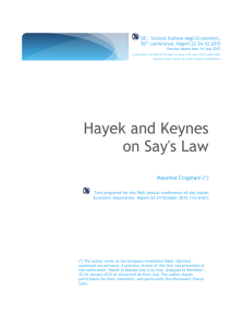 Cingolani Napoli SIE 2015 Hayek and Keynes on Say`s Law
