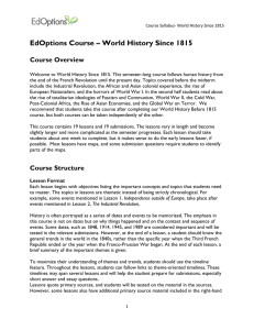 EdOptions Course – World History Since 1815