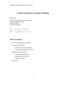 Levels of analysis in neural modeling